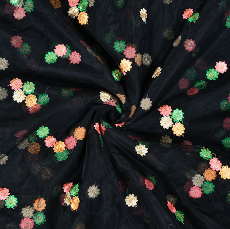 Black Green Floral Net Embroidery Fabric-19237