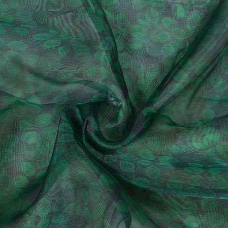 Black Green Leaf Organza Digital Fabric-22219