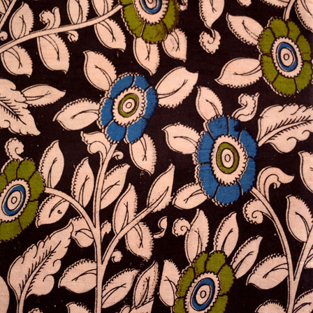 Black-Green and Beige Flower Kalamkari Cotton Fabric-5457