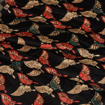 Black-Green and Cream Kalamkari Manipuri Silk Fabric-16352