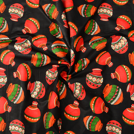 Black-Green and Orange Cotton Jam Silk Fabric-75097