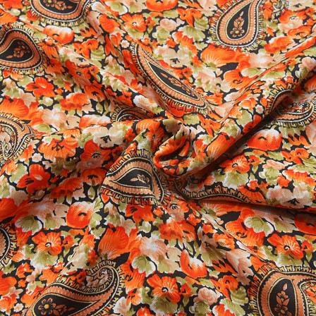 Black-Green and Orange Paisley Shape Crepe Fabric-18093