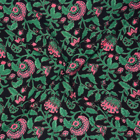 Black Green and Pink Block Print Cotton Fabric-14692