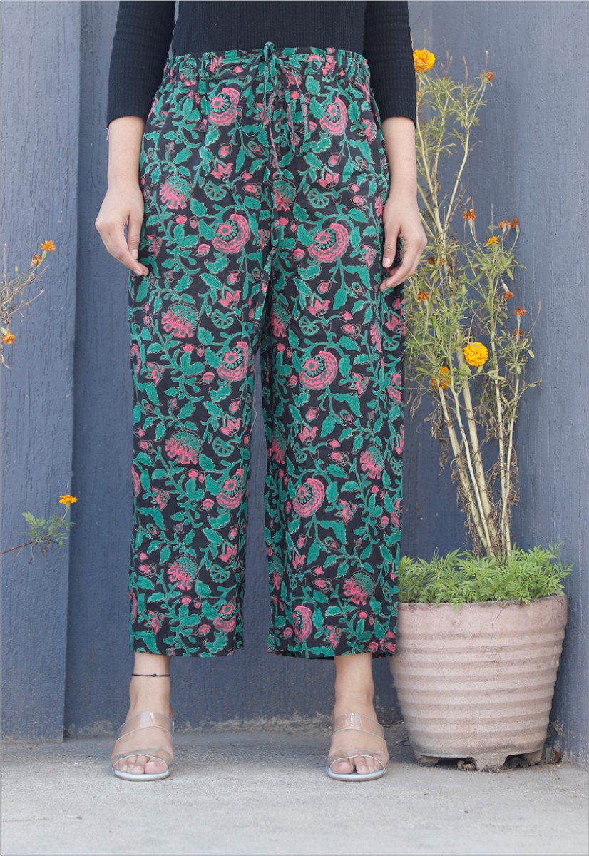 Black Green and Pink Cotton Floral Palazzo Pant-34340