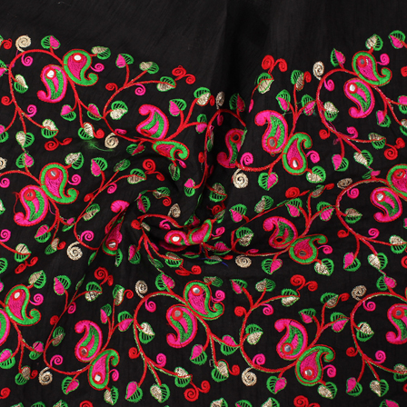Black-Green and Pink Leaf and Paisley Embroidery Silk Fabric-RAH60405