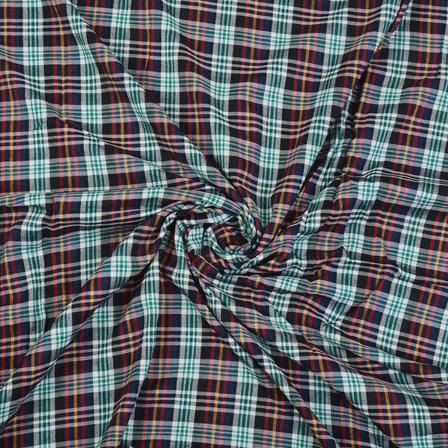 Black-Green and Red Checks Cotton Handloom Fabric-40271