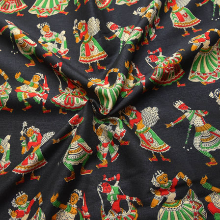 Black-Green and Red Dancing Mudra Design Kalamkari Manipuri Silk-16073