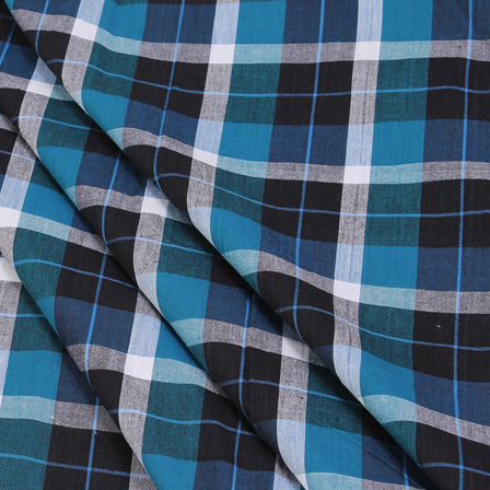 Black-Green and White Checks Handloom Cotton Khadi Fabric-40051