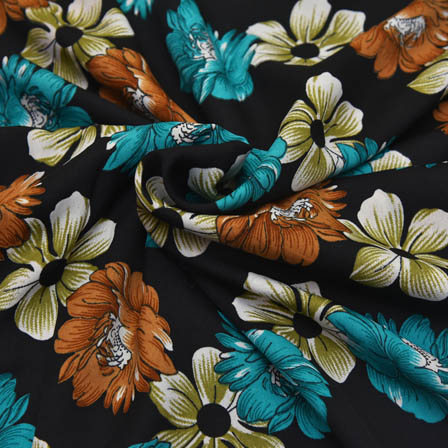 Black-Green and White Floral Design  Crepe Fabric-18003