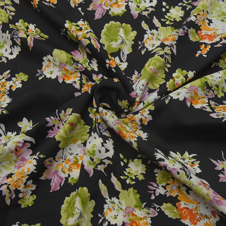 Black-Green and White Floral Design Crepe Fabric-18071