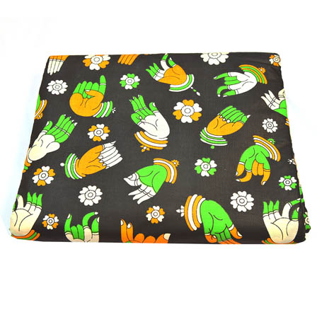 Black-Green and White Hand Mudra Pattern Kalamkari Cotton Fabric-5806