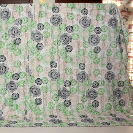 Black-Green and White Handmade Circular Design Kantha Quilt-4345