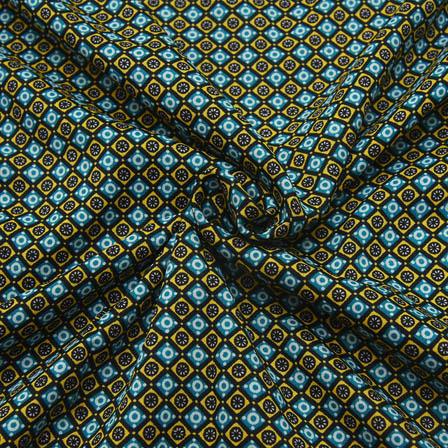 Black-Green and White Unique Design Crepe Fabric-18089