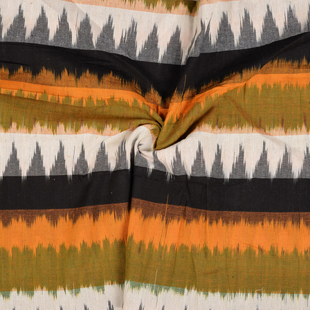 Black-Green and Yellow 3D Cotton Ikat Fabric-12099