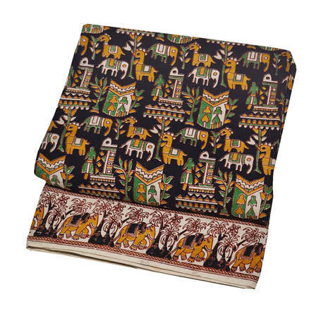 Black-Green and Yellow Animals Design Kalamkari Cotton Fabric-5754