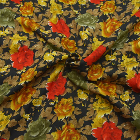 Black-Green and Yellow Flower Design Crepe Fabric-18055