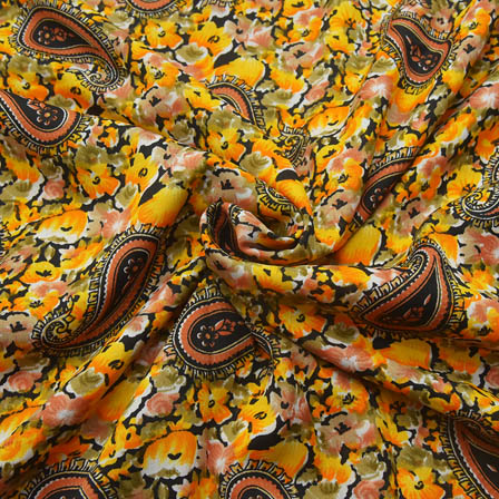 Black-Green and Yellow Paisley Pattern Crepe Fabric-18092