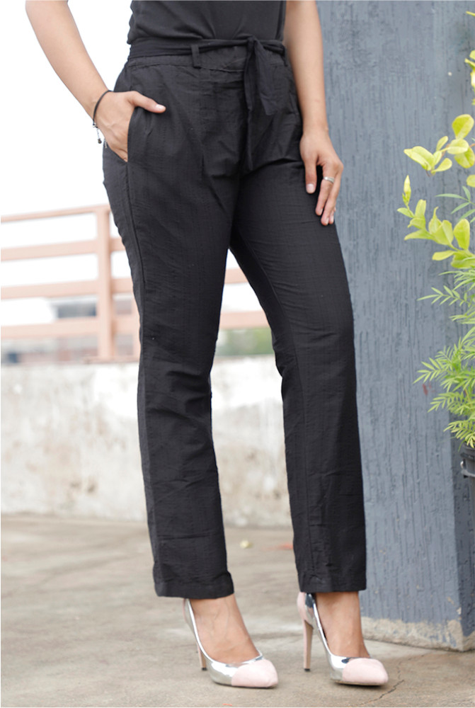 Black Handloom Cotton Texture Narrow Pant with Belt-33916