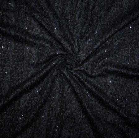 Black Lakhanvi Chikan Work Georgette Embroidery Fabric-19365