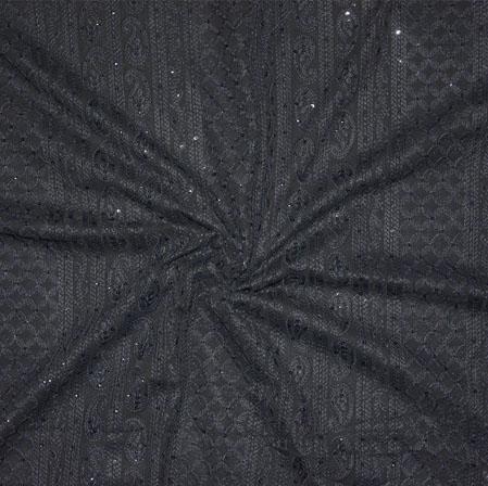 Black Lakhanvi Chikan Work Georgette Embroidery Fabric-19372