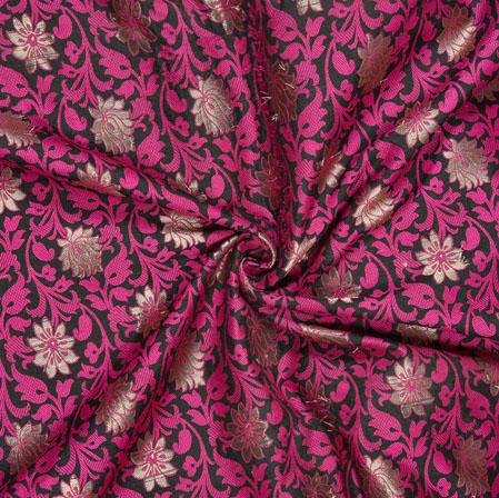Black Magenta pink and Golden Kinkhab Banarasi Brocade Silk Fabric-12792