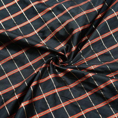 Black Maroon Checks Zari Taffeta Silk Fabric-12303