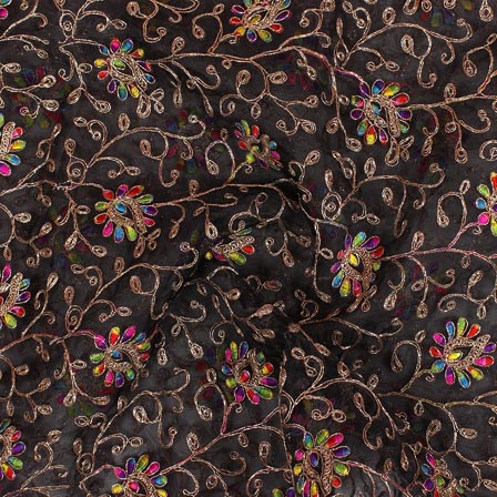 Black Multicolor Embroidery Organza Silk Fabric-51643