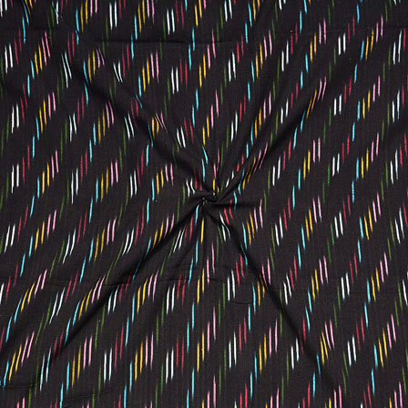 Black Multicolor Ikat Cotton Fabric-12288