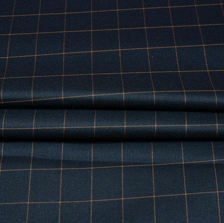 Black Mutsard Checks Wool Fabric-90211