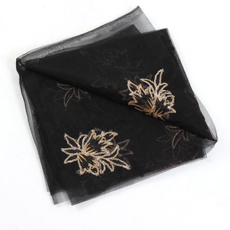 Black Net Base Fabric With Golden Floral Embroidery-60086