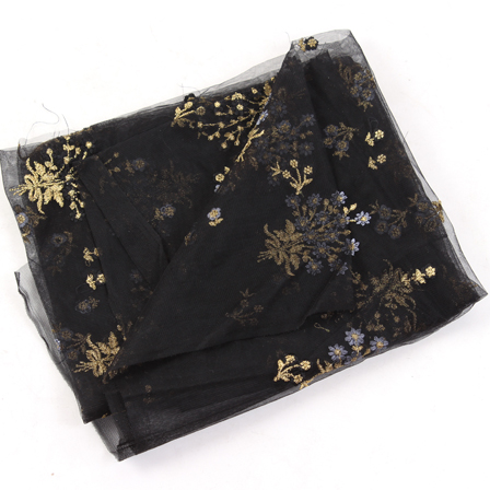 Black Net Base Fabric With Golden and Light Purple Floral  Embroidery-60109
