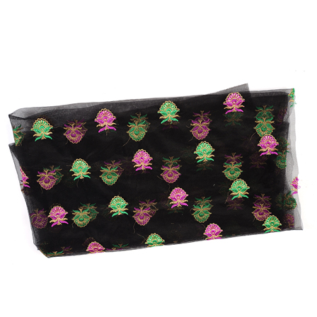 Black Net Base Fabric With Pink and Green Flower Embroidery-60577