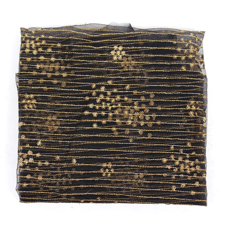 Black Net Fabric With Golden Embroidery-60837