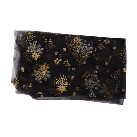 Black Net Fabric With Golden Flower Embroidery-60531