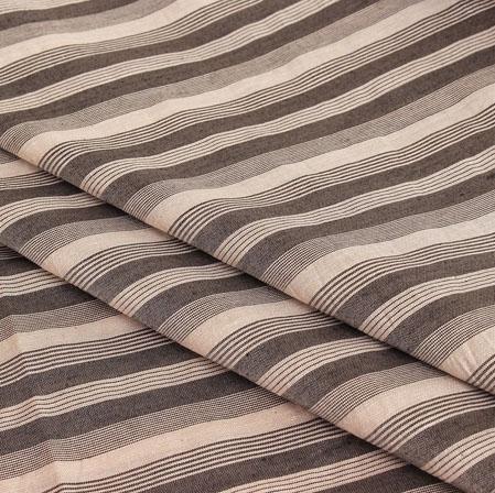 Black Off White Stripe Handloom Cotton Fabric-40931