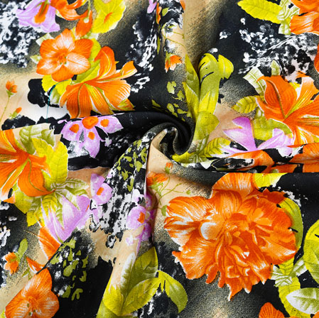 Black Orange Floral Crepe Silk Fabric-41007