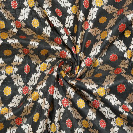 Black Orange Flower Brocade Banarasi Silk Fabric-12872