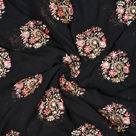 Black Orange Flower Panel Work Georgette Embroidery Silk Fabric-19218