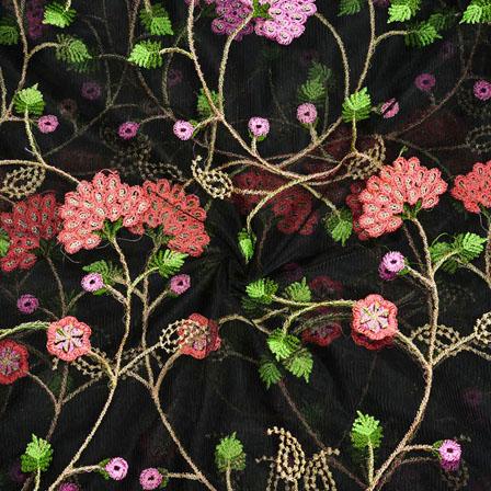 Black Orange Net Embroidery Silk Fabric-18764