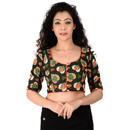 Black-Orange and Green Elbow Sleeve Cotton Kalamkari Blouse-30137