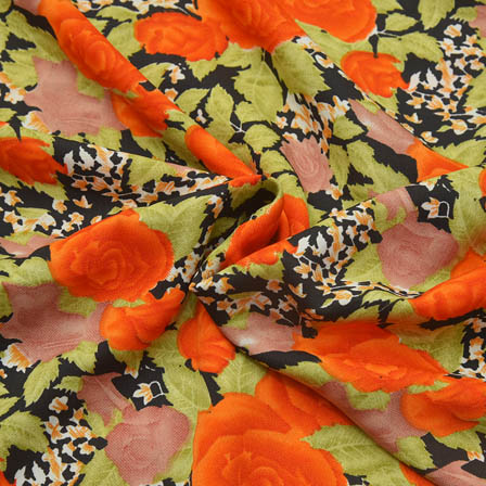 Black-Orange and Green Floral Design Crepe Fabric-18040