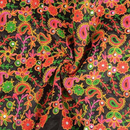 Black-Orange and Green Floral Pattern Gujrati Embroidery Fabric-60585
