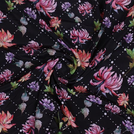 Black Orange and Pink Flower Crepe Silk Fabric-18257