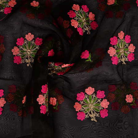 Black Organza Fabric With Pink and Green Flower Embroidery -50094