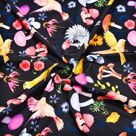 Black Peach Floral Crepe Silk Fabric-41139