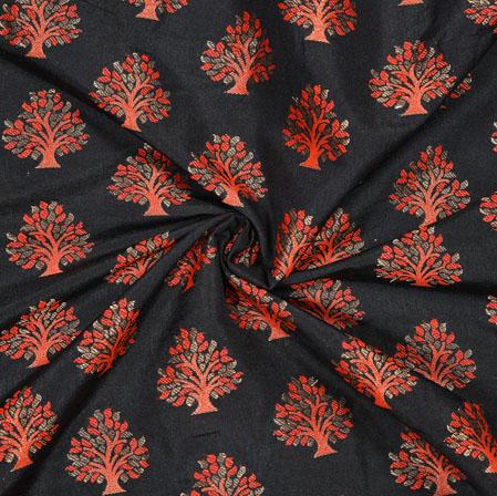 Black Peach Tree Brocade Banarasi Silk Fabric-12839