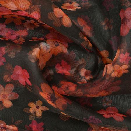 Black Peach and Pink Flower Organza Silk Fabric-22263
