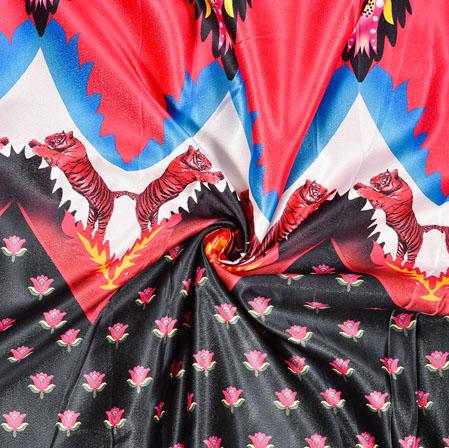Black Pink Digital Print Panel Work Georgette Fabric-41171