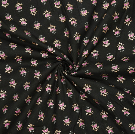 Black Pink Floral Cotton Fabric-28115