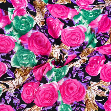 Black Pink Floral Crepe Silk Fabric-41012